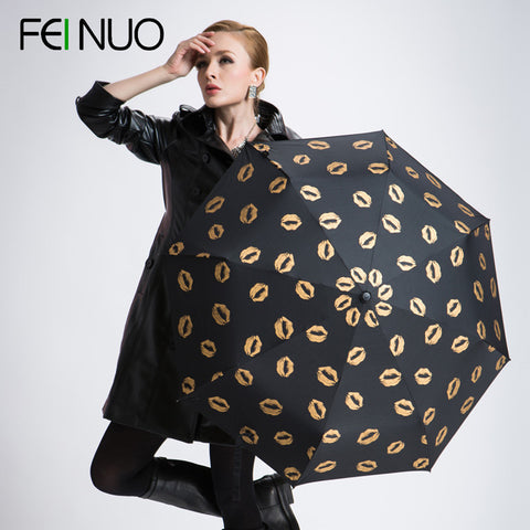 Skull & Lips women rain umbrellas anti-uv sun protection high quality brand 3 folding femal umbrella guarda chuva