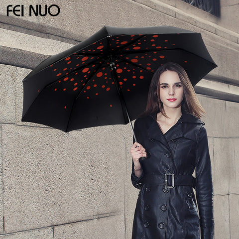 Brand high quality black coating vinyl umbrella 3 folding umbrella female anti-uv sun protection umbrella for women rain