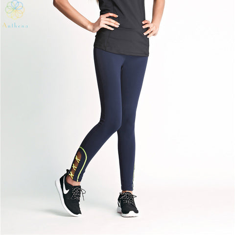 2016 Women Royal Blue Crus Overlapping Hollowed-Out Sports Pants Capri Running Tights Fitness Yoga Gym Middle-Waist Leggings