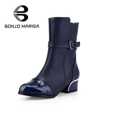 Big Size 34-43 Motorcycle Boots Low Heels Shoes for Women Fashion Half Knee Ankle Boots Winter Autumn Less Platform Shoes