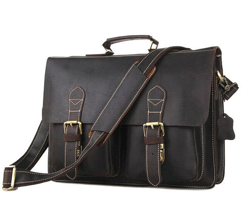 100% Genuine Leather Handbags Men bag crossbody bag Men Crazy Horse Leather Messenger Bags Shoulder Bags Briefcase Free Shipping