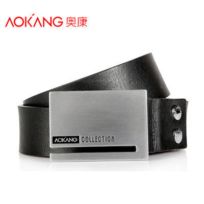 2014 Aokang brand fashion Black trimmer belt stainless buckle men genuine leather belt Automatic buckle mens leather belt straps