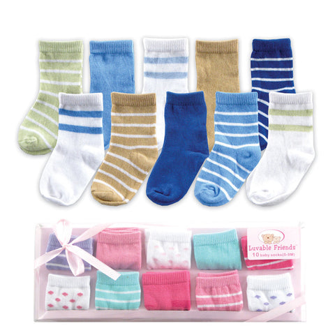 10pairs/lot USA Luvable Friends Baby Socks Gift Set, Blue, 0-9 Months ,Free Shipping