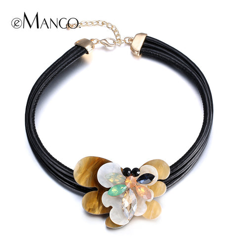 //Black leather necklace acrylic flower necklace// cute crystal animal necklace 2015 trendy necklace bijoux femme eManco NL13391