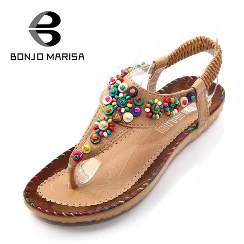 2016 Best Sale Bohemia String Bead Flat With Women's Sandals Casual T Strap Elastic Band Solid Girls Shoes