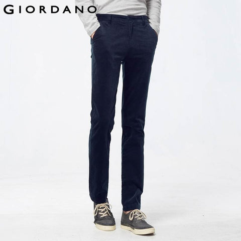 Giordano Men Famous Brand Corduroy Slim Pants Male Stretchy Casual Trousers for Men Velours Cotele Pantalons Homme Marque