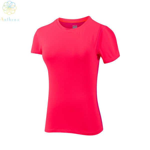 2016 Women Regular Pink/Orange Breathable Sports T-Shirt Fitness Yoga Gym Running Summer Top Tee Jogging High-Grade Clothes