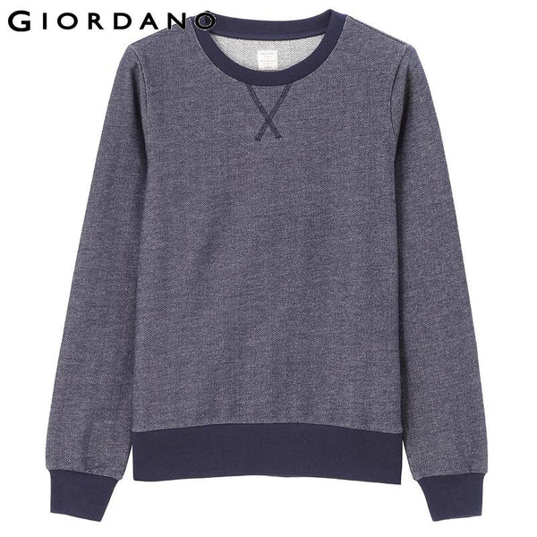 Giordano Women Solid Sweatshirt Crewneck Long Sleeved Jumpers Womens Mujer 100% Cotton Sudaderas Tracksuit Sport Suits