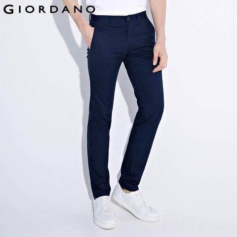 Giordano Men Pants Solid Cotton Khaki Trousers Pantalones Chinos Homme Silm Fit Khakis Casual Trousers Pockets Chinos