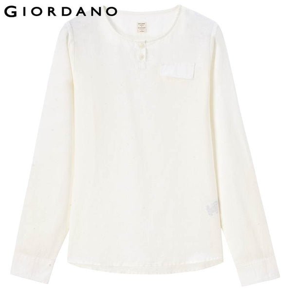 Giordano Women Linen Shirt Roll-up Solid Blouse Crewneck Shirts Long Sleeves Women Tops Haut Femme Blusas de Renda Feminino
