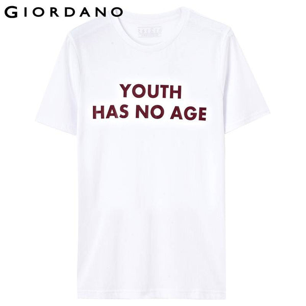 Giordano Men T-shirt Short Sleeves Slogan Tee O-neck Printed Tops Casual Pure Cotton Camisetas Style Summer Clothing Hombre