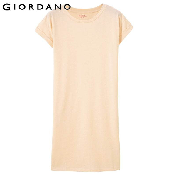 Giordano Women Solid Dresses Casual Dress for Women Short Sleeve Pocket Dresses Femminile Vestito Feminino Vestidos