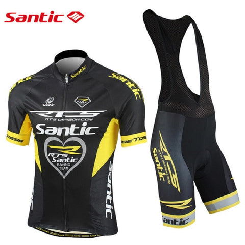 2015 Santic Short Sleeve Cycling Jersey + Bib Shorts Pad Sets conjunto ciclismo manga Cycling Bike Sports Clothing MCT031