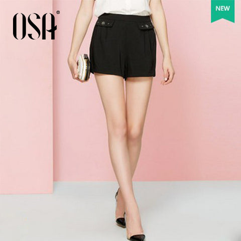 OSA 2015 New Women Beading Pleated Black Summer Shorts Fashion Casual Short Pants Plus Size SK523019