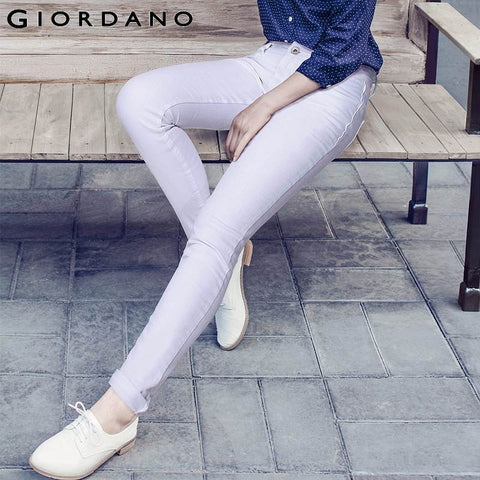 Giordano Women Brand Fashion Whiskering Jeans for Women Slim Female Denim Pants Casual Women's Skinny Denim Jeans Trousers