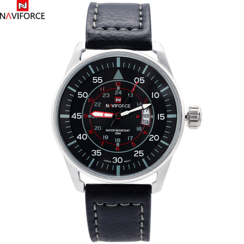 Brand Sport Military Watches Fashion Casual Quartz Watch Leather Analog Mens 2016 New NAVIFORCE Luxury Watches Relogio /NF9044-2