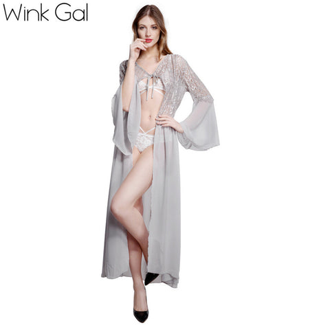 Wink Gal Sexy Night Dress Sleepwear Grey Home Gown Long Silk Lace Nightgown Women Nightwear