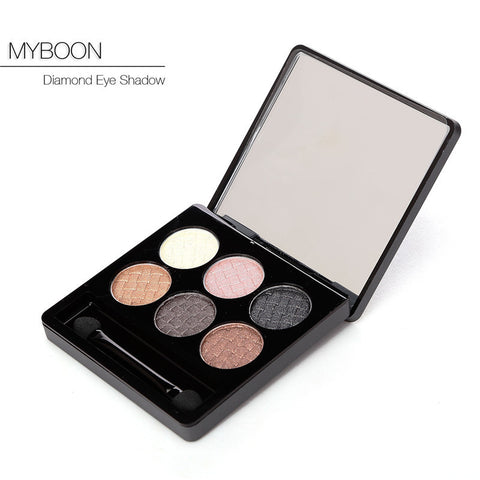 2015 New Women 6 colors Diamond Bright Colorful Makeup Eye Shadow Super Makeup Set Flash Glitter Eyeshadow Palette