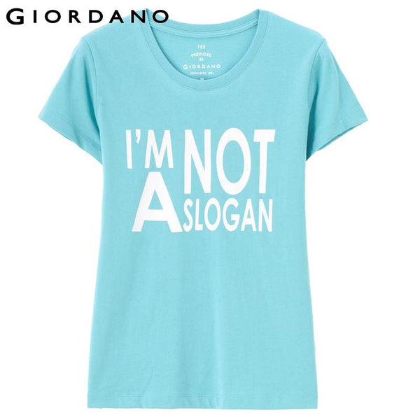 Giordano Women Tee Pure Cotton Graphic T-shirt Short Sleeves O-neck Fashion Tops Summer Casual Clothing Brand Camisetas