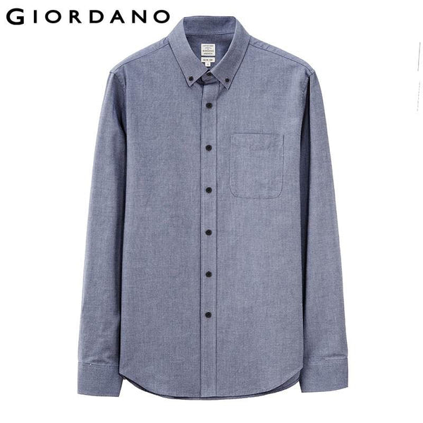 Giordano Men Shirt Brand Oxford Long Sleeve Camisa Social Masculina Blusas Button Black Mens Shirts Chemise Homme Slim Fit