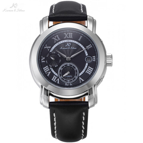 Classic KS Automatic Black Dial Date Day Mechanical Watches Roman Mens Dress Business Leather Strap Timepiece Wristwatch / KS277