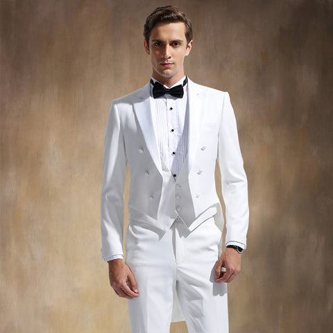 (Jackets+Pants+Vest)Hot Sale 2015 Men Business Casual Suit Three Pieces Set Formal Slim Fit Wedding Dress Tuxedo White