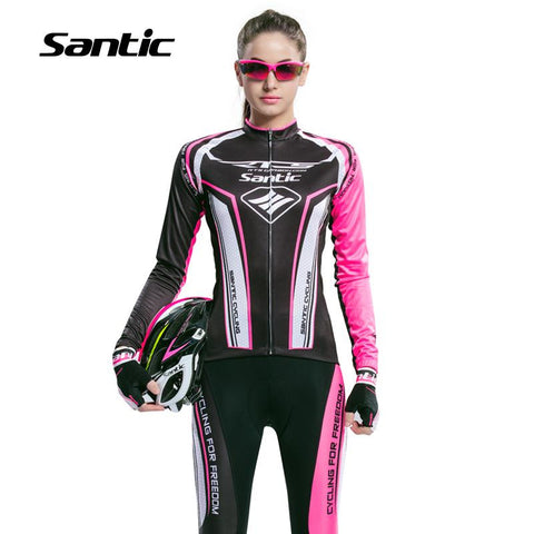 2016 New Arrival Santic Spring Long Sleeve Jersey Cycling Sets Women Cycling Gel Pant Bike Boy Pink Ladies Cycling Sets L5CT055P