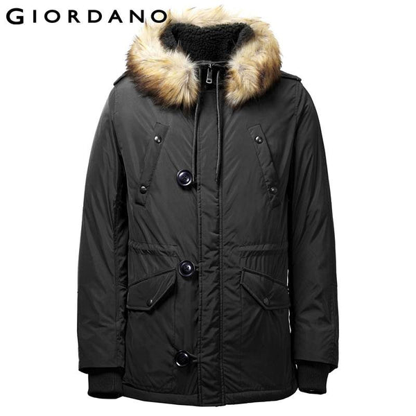 Giordano Men Military Fleece-Lined Parka Faux Fur Hooded Jakcet for Men Casual Slim Winter Coat Male Abrigos Y Chaquetas Hombre