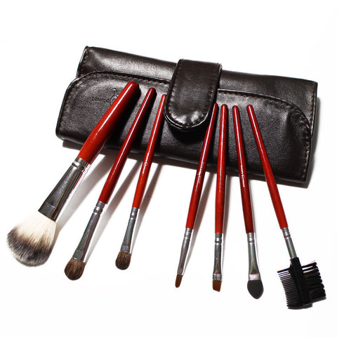 (Wholesale 10pcs/lot)7 pcs Professional Makeup Brushes Goat Hair in Brown Leather Bag Big Sale 2013 New