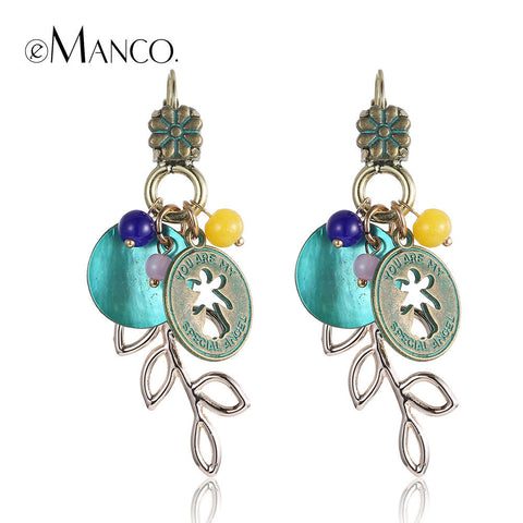 //Ancient bronze alloy earring shell dangle earring// ethnic summer style long earrings for women gold plated brincos eManco