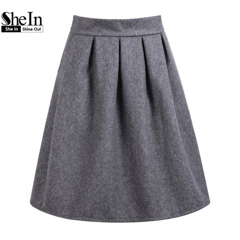 Fashion Female Clothes 2015 Women Work Wear Imported Clothing High Street Famous Casual Grey High Waist Pleated Hot Skirt