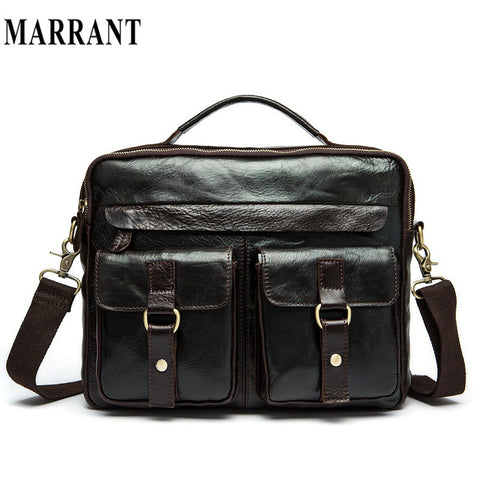 100% Cowhide leather bags Europe and the United States men business casual retro trend Hand bag Shoulder Messenger tide package