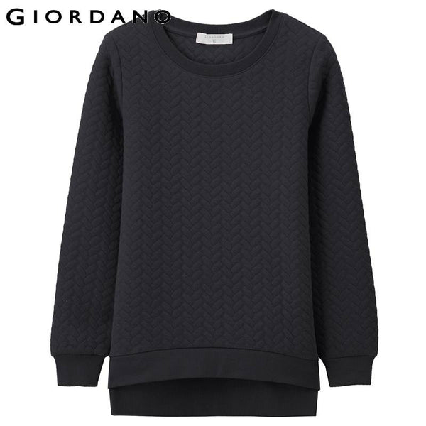 Giordano Women Jacquard Quilted Sweatshirt Womens Padded Pullovers Casual Wear Survetement Femme Marque Women Clothing