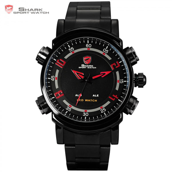 SHARK Sport Watch Men's LED Analog Dual Time Mode Date Alarm Red Black Steel Wrap Strap Gift Box Quartz Digital Watches / SH066