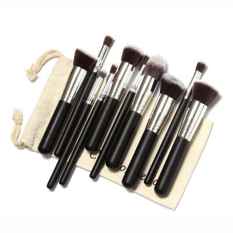 10 Pcs Professional Make up Brushes Set Make up Brush Kit Free Draw String Makeup Bag Classic Matte Black