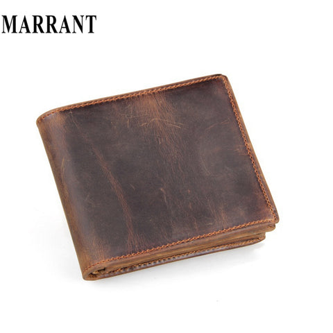 2015 Genuine Leather wallets Men Brown Purse & Bifold Brand Wallet Retro Design Style Purse Crazy Horse Leather Wallets for Man