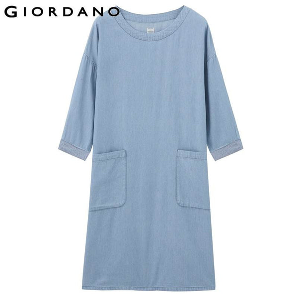 Giordano Women Dresses Denim Three-quarter Sleeves Jeans Dresses Womens Gown Branded Denims Tunicque Retro Dresses Vestido