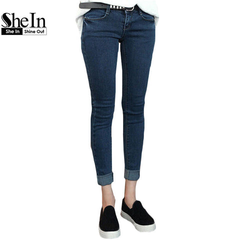 Autumn 2016 Ladies High Street Fashion Solid Blue Pockets Denim Long Pants Blue Pockets Thicken Plus Size Slim Leg Jeans