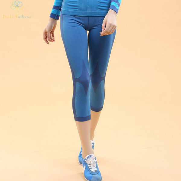 Women pants sports shorts outdoors yoga fitness training trousers running tights 2015 new summer winter elastic polyester blue