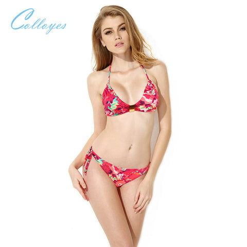 Colloyes Red Floral Halter Top with Classic Cut Bottom Bikini Swimwear