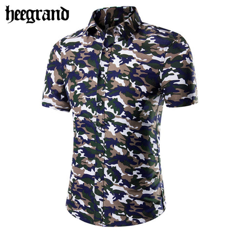 2016 New Outdoor Plus Size Men Shirts Single Breasted Print Casua Turn-down Collar Men Shirt MCS540