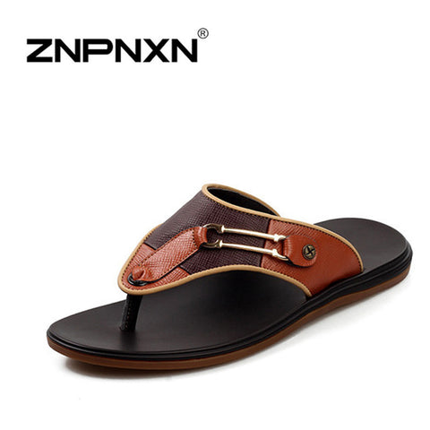 Rosan 2014 new summer beach sandals men,Excellent Featured leather high quality flip flops slippers for men men's cusual shoes