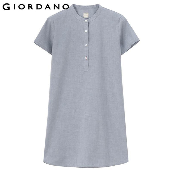 Giordano Women Blouse Mandarin Collar Short Sleeves Solid Cotton Tunic Shirts Camisetas Womens Clothes Brand Haut Femme