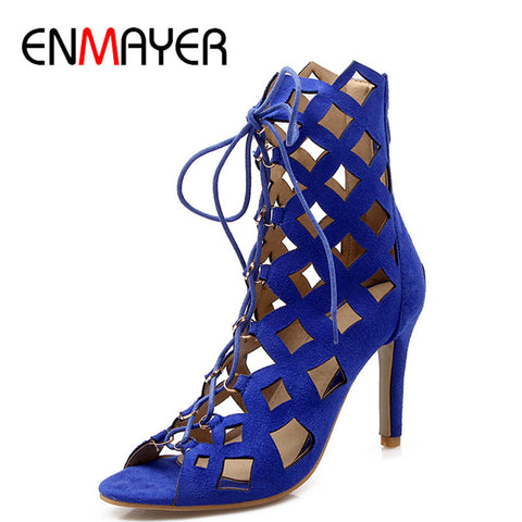 ENMAYER Fashion Summer Women Ankle Boots Shoes Thin Heels Peep toe Sandals Boots Cuts-Outs Zip Fashion 4 Colors Sexy Boots