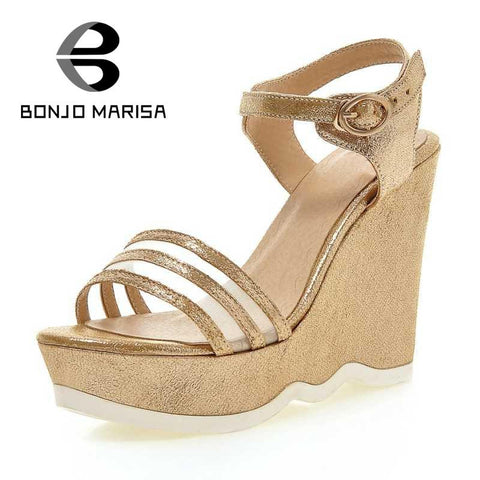 2016 big sale ankle strap party wedding woman shoes buckle strap sexy high heel platform front rear strap wedges solid sandals