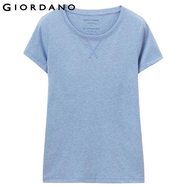 Giordano Women Tee Short Sleeves Solid Jersey Stripes T-shirt Mujer Style Clothing Womens Famous Brand Plus Size Tees