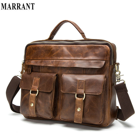100% genuine leather men bag crazy horse leather men's handbags shoulder bag casual business briefcase messenger bags laptop