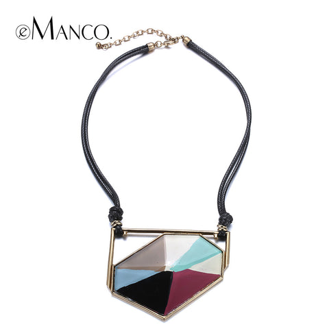 //Black wax cord necklace resin necklace// zinc alloy charms hand painted collar necklace colorful enamel 2015 eManco NL13349