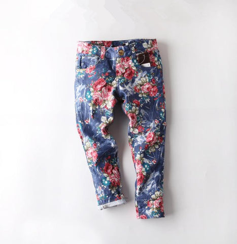 High Quality Girls Jeans for Children Pants 2015 Summer Brand Vestido Jeans for Girls Denim Pants Colored Floral Baby Girl Jean
