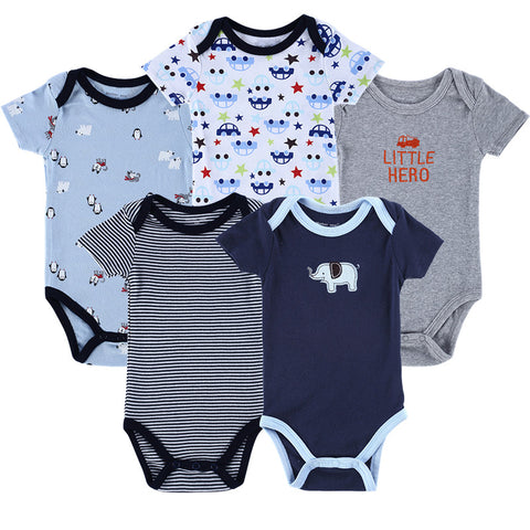 5 pieces/ lot Luvable Friends Summer Baby Girl and Boy Bebe Clothing Short Sleeve Overall Newborn Bebe Baby Clothes Clothing